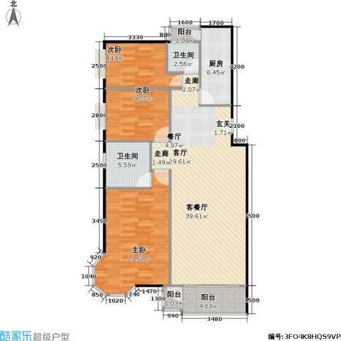 美然绿色家园3室1厅2卫1厨131.00㎡户型图