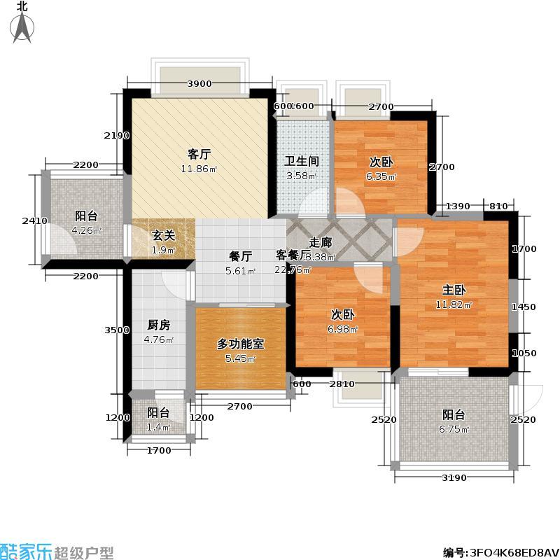 富通城五期海岸长堤户型3室1厅1卫1厨