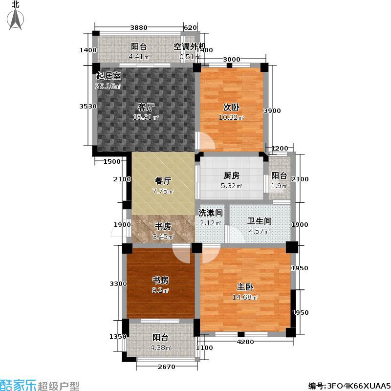 现代森林小镇金融SOHO垂直商业105.00㎡二期B区A栋4户型 三房二厅一卫户型