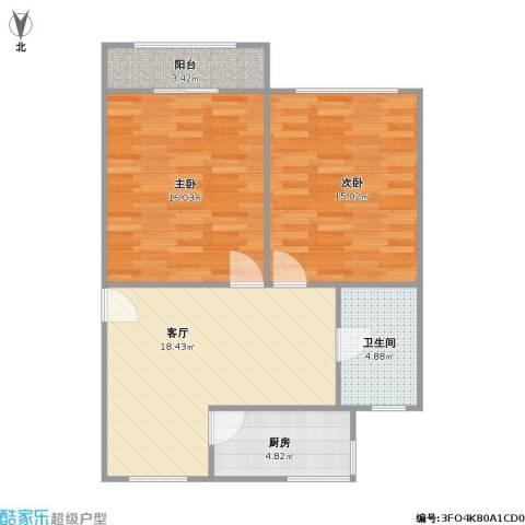 新长征花苑2室1厅1卫1厨84.00㎡户型图