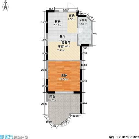 平海・逸龙湾1室1厅1卫0厨65.00㎡户型图