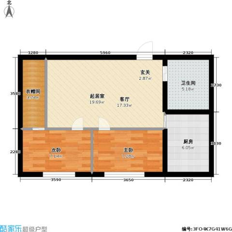 城仕晶舍2室0厅1卫1厨56.00㎡户型图