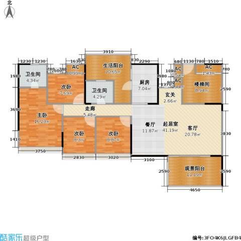 花海湾4室0厅2卫1厨143.00㎡户型图