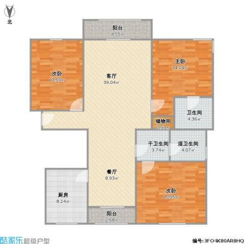 三湘盛世花园3室1厅1卫1厨148.00㎡户型图