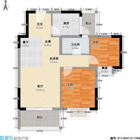 海尚绿洲2室0厅1卫1厨84.00㎡户型图