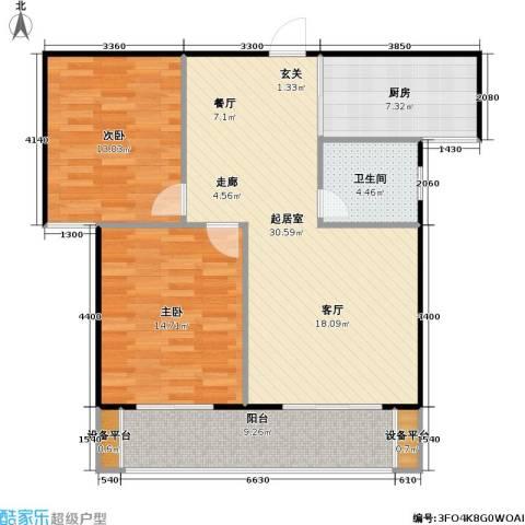 锦天・生态城2室0厅1卫1厨91.00㎡户型图