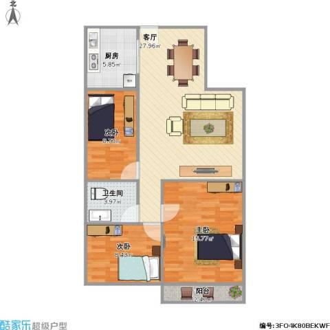 恒隆明珠3室1厅1卫1厨99.00㎡户型图