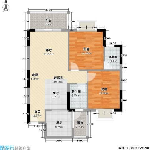 海尚绿洲2室0厅2卫1厨94.00㎡户型图