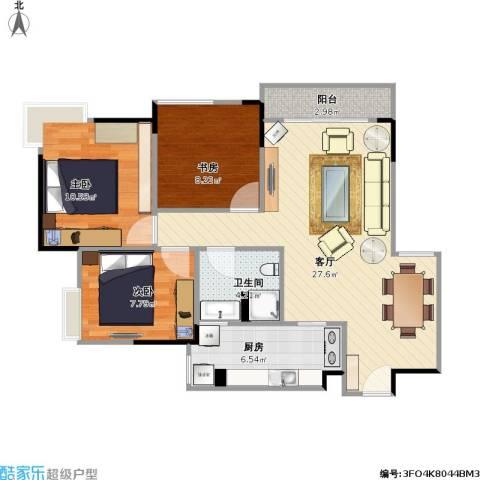 东邦城市广场3室1厅1卫1厨93.00㎡户型图