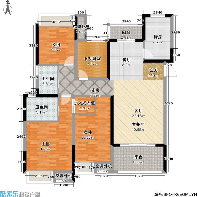 保利公园九里139.00㎡B1户型3室2厅2卫