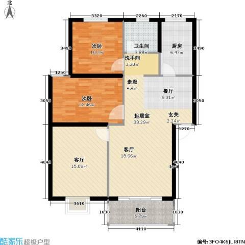 康诗丹郡2室1厅1卫1厨121.00㎡户型图