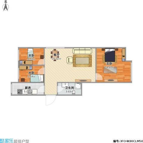 西坝河北里3室1厅1卫1厨82.00㎡户型图