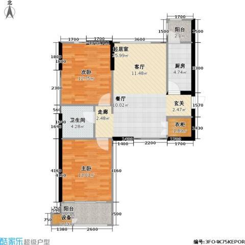 御海龙湾2室0厅1卫1厨96.00㎡户型图
