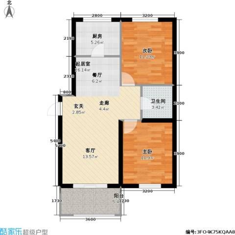 御海龙湾2室0厅1卫1厨87.00㎡户型图