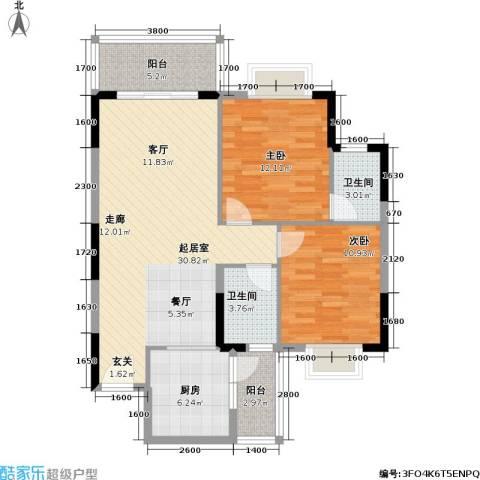 海尚绿洲2室0厅2卫1厨95.00㎡户型图
