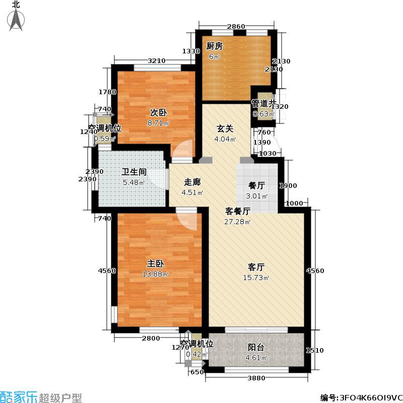 玫瑰庭院78.00㎡洋房 夏日星辰户型2室2厅1卫