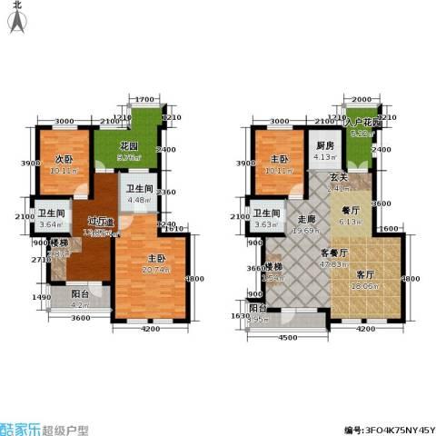 海韵星城3室1厅3卫1厨163.66㎡户型图