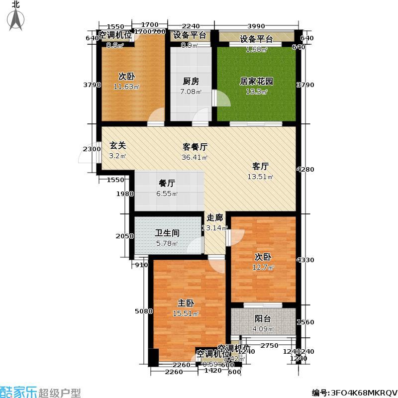 蔷薇佳园128.00㎡蔷薇佳园户型图F户型3室2厅1卫(1/4张)户型3室2厅1卫