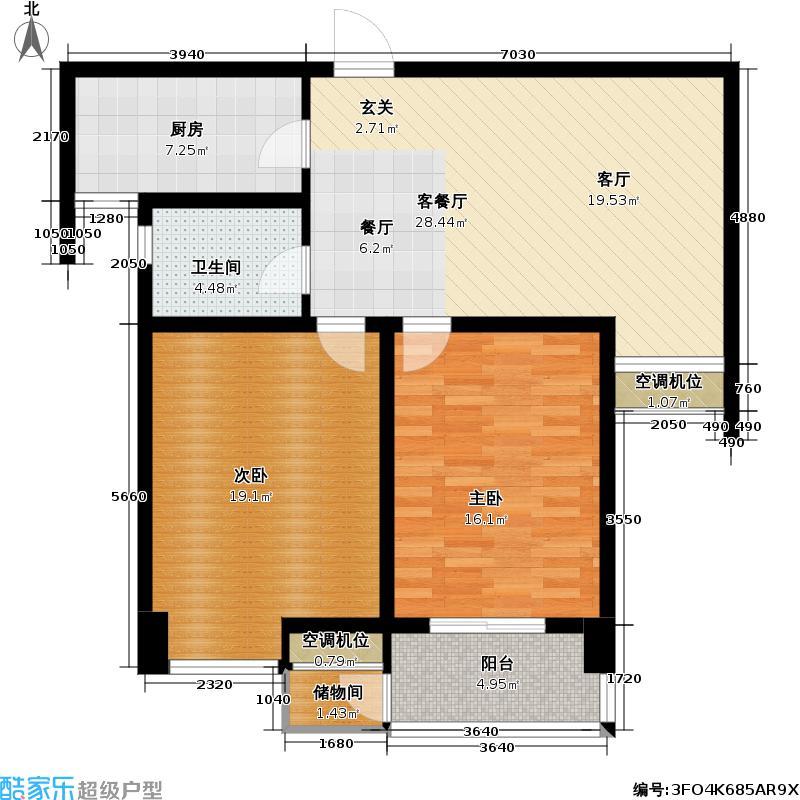 蔷薇佳园E户型2室1厅1卫1厨