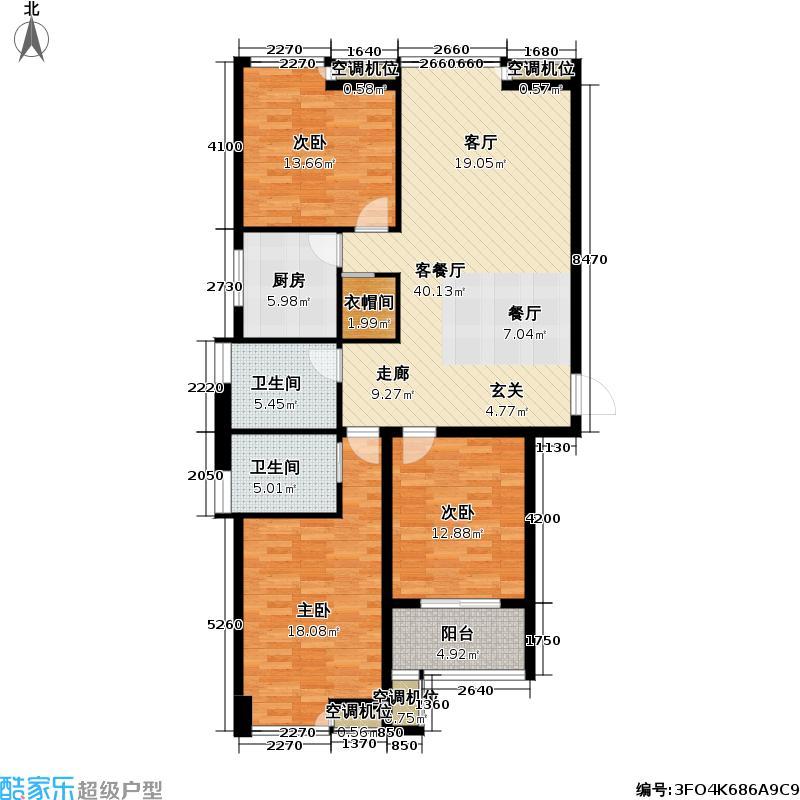 蔷薇佳园123.23㎡蔷薇佳园户型图D户型3室2厅2卫(2/4张)户型3室2厅2卫