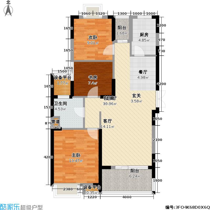 卧龙原墅109.00㎡D户型 三房二厅一卫户型3室2厅1卫