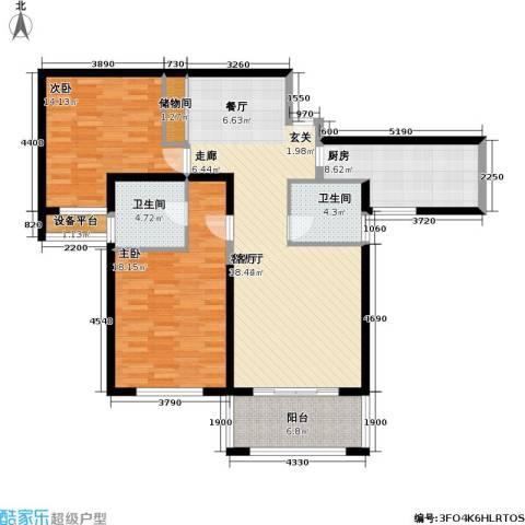静安同乐2室1厅2卫1厨132.00㎡户型图