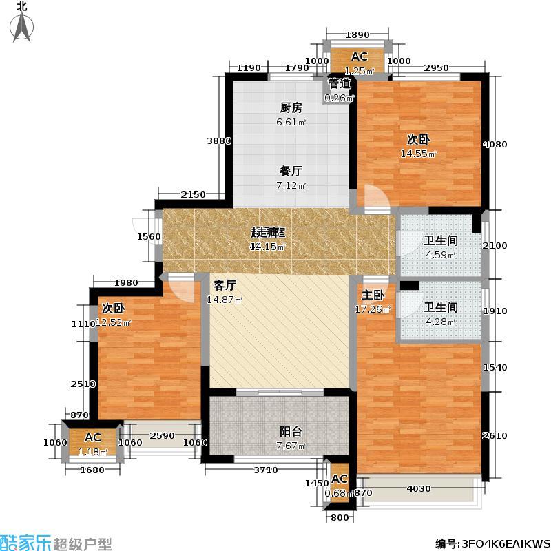 锦绣天地118.00㎡118平米三房户型3室2厅2卫