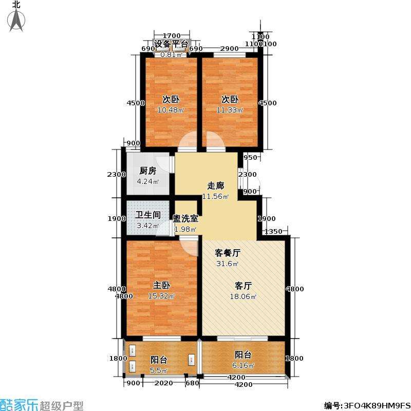 阳光新城105.98㎡4号楼D户型-5户型3室1厅1卫