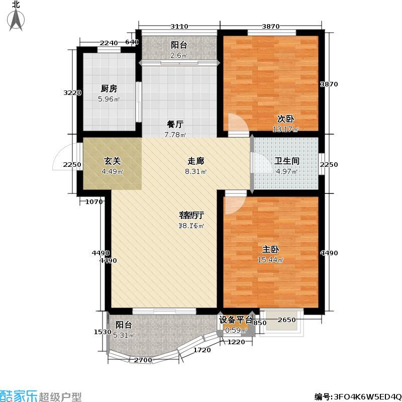 盛世豪园户型2室1厅1卫1厨