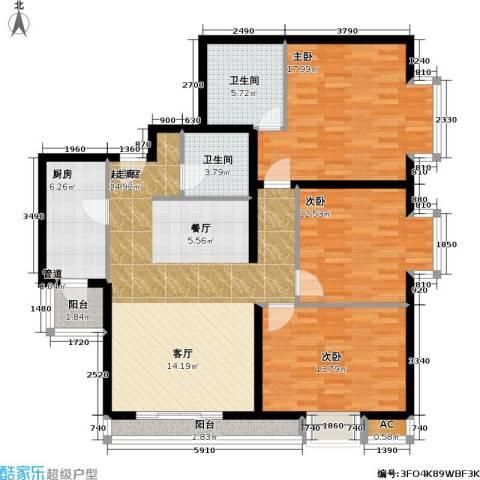 名苑雅居(Olive-澳立国际)3室0厅2卫1厨113.00㎡户型图