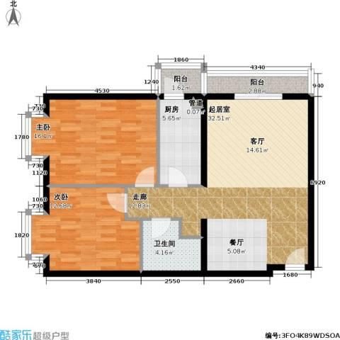 名苑雅居(Olive-澳立国际)2室0厅1卫1厨88.00㎡户型图