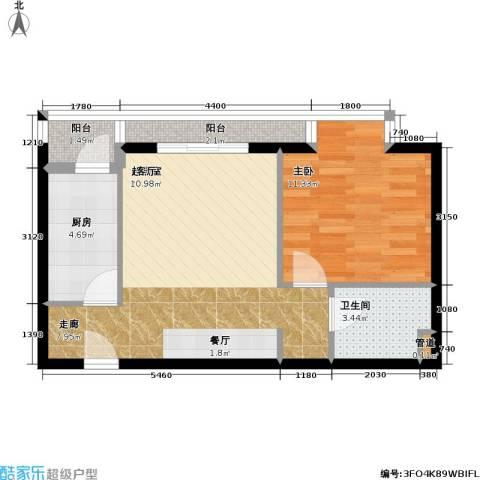 名苑雅居(Olive-澳立国际)1室0厅1卫1厨52.00㎡户型图