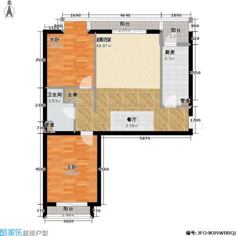 名苑雅居(Olive-澳立国际)2室0厅1卫1厨85.00㎡户型图