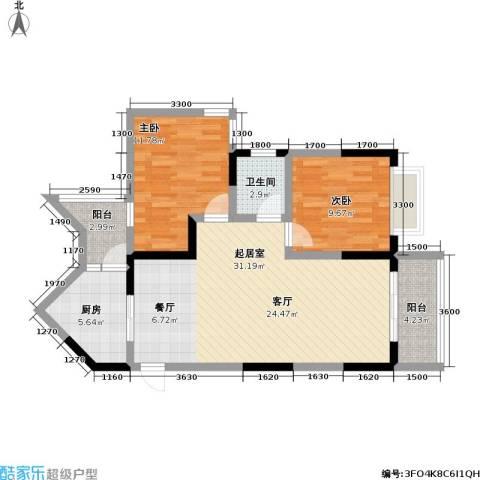 汇丰国际度假公寓2室0厅1卫1厨99.00㎡户型图