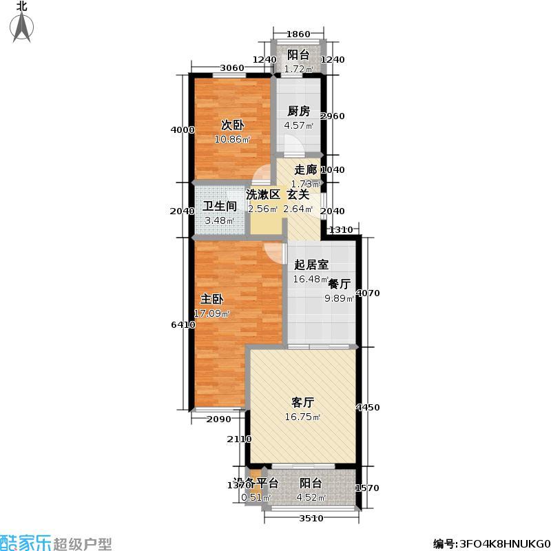 清秀阁87.18㎡1号楼A户型2室2厅1卫户型