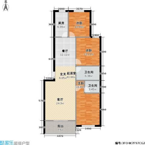 豪景南苑3室0厅2卫1厨117.00㎡户型图