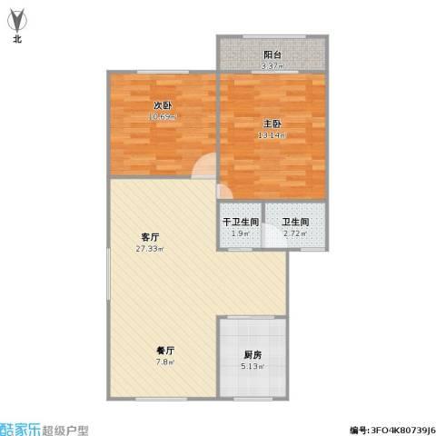 绿园四村2室1厅1卫1厨86.00㎡户型图