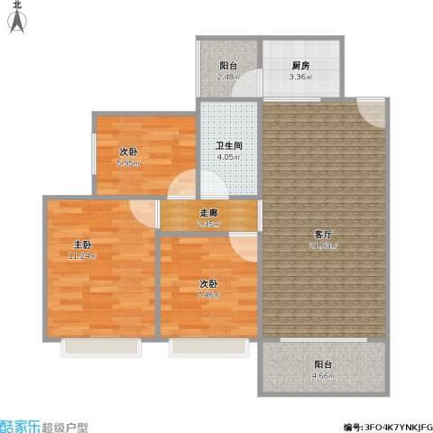 阳光花园3室1厅1卫1厨86.00㎡户型图