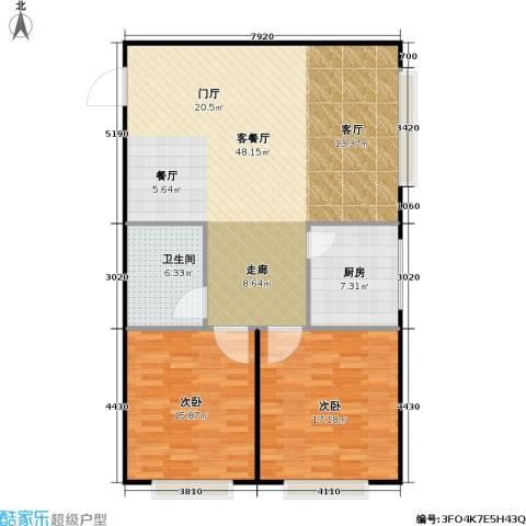 潍坊世贸中心2室1厅1卫1厨104.00㎡户型图