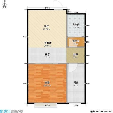 潍坊世贸中心1室1厅1卫1厨69.00㎡户型图