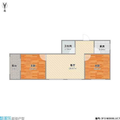 科宁公寓2室1厅1卫1厨63.00㎡户型图