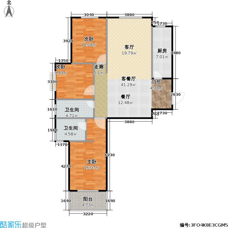 旺景苑三室两厅 106㎡-122㎡户型