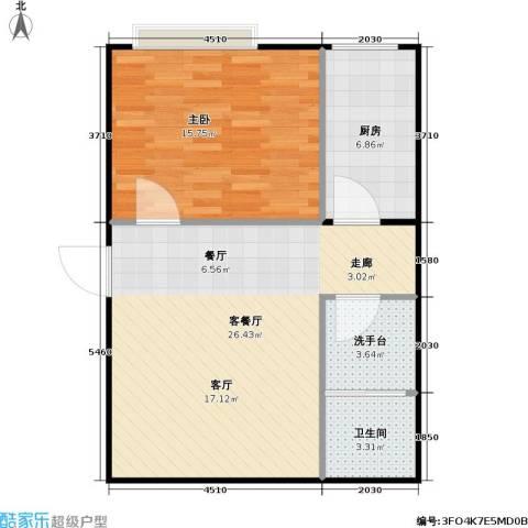 潍坊世贸中心1室1厅1卫1厨75.00㎡户型图