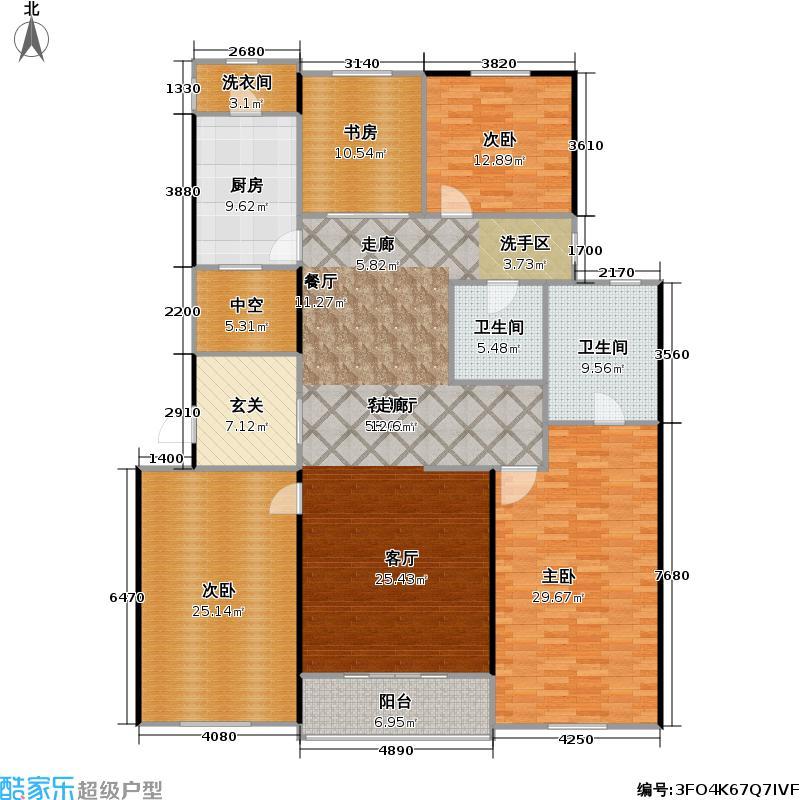 九龙仓国宾1号195.00㎡E户型4室2厅3卫195平米户型4室2厅3卫