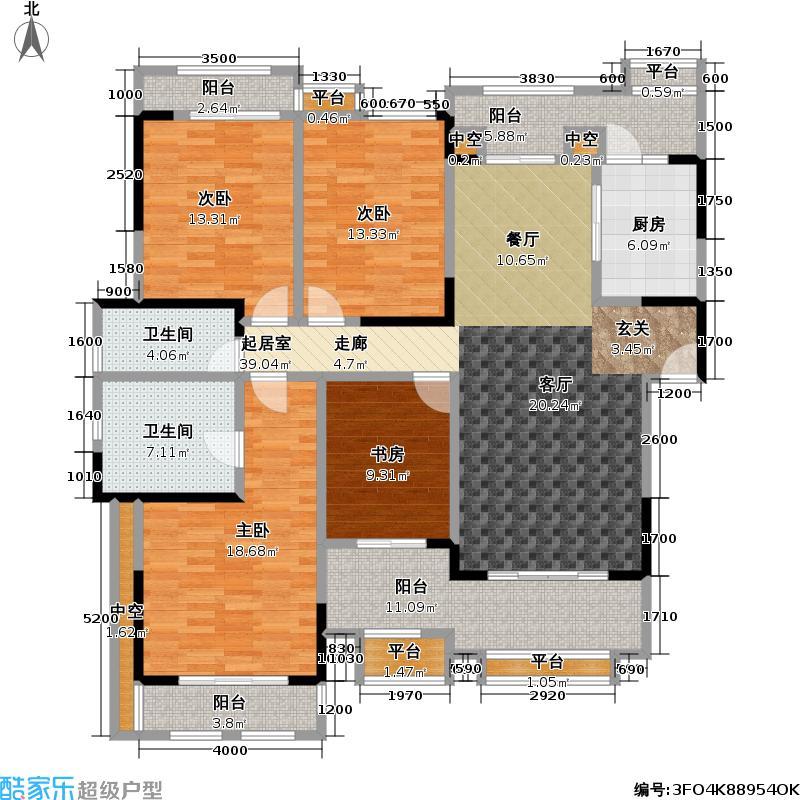 富力盈溪谷140.00㎡C型四房二厅二厅 花园洋房户型4室2厅2卫
