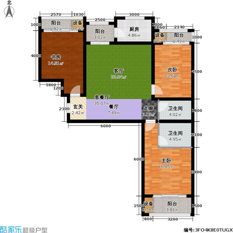 丽水苑138.01㎡一号楼中单元户型3室2厅2卫