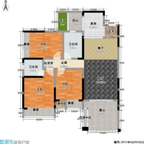 豪逸御华庭3室0厅2卫1厨108.00㎡户型图