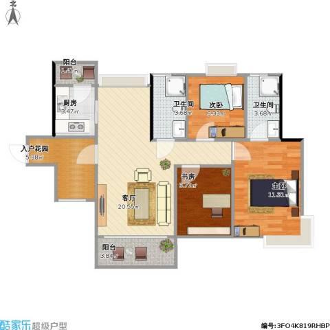 香樟1号3室1厅2卫1厨91.00㎡户型图