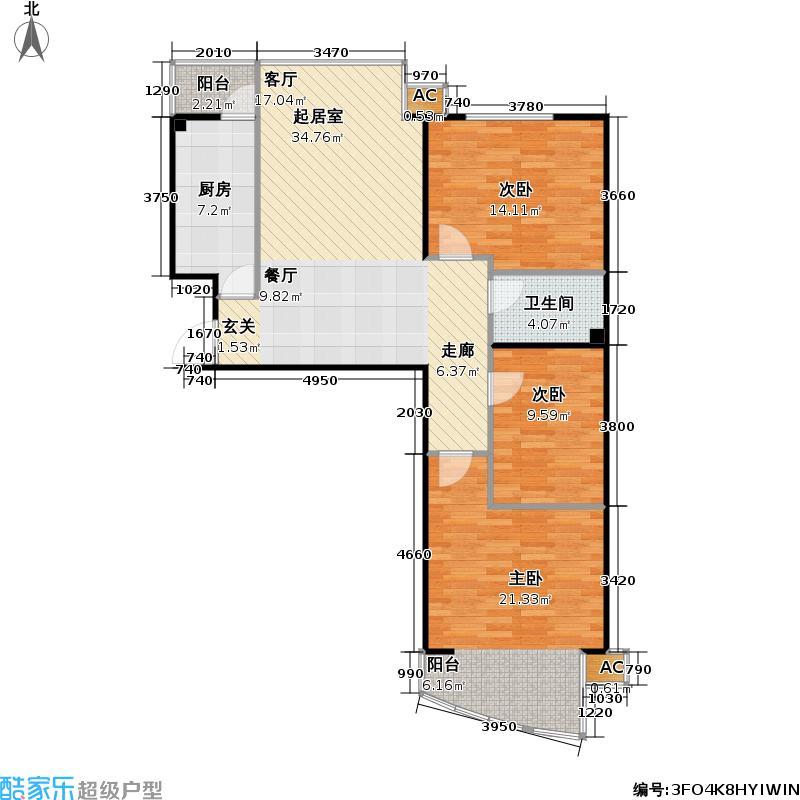 动街区G户型三室两厅一卫户型