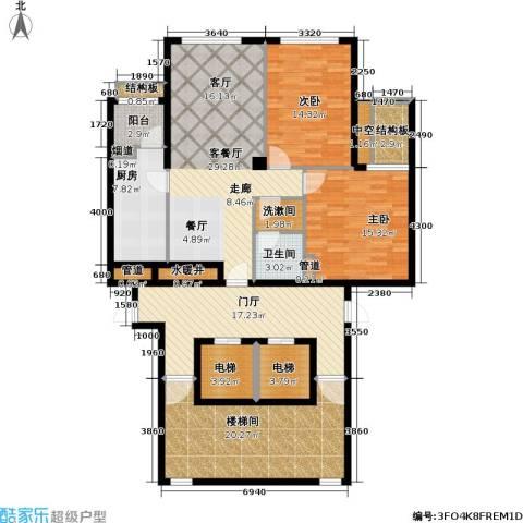 大西洋新城2室1厅1卫1厨126.78㎡户型图
